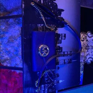 Michael Kor's dark blue clutch